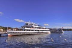Lake Zurich. Switzerland - ships & swans Royalty Free Stock Photo