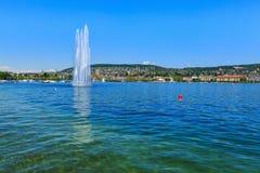 Lake Zurich in Switzerland in summertime. City of Zurich in the background stock photos