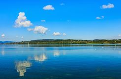 Lake Zurich in Switzerland. View from the town of Rapperswil in the Swiss canton of St. Gallen Royalty Free Stock Photo