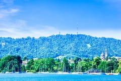Lake zurich and Uetli mountain in Zurich - Switzerland stock images