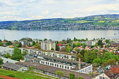 Lake Zurich view Switzerland. View of  Zurichsee lake shore, Zurich city urbanized area Switzerland.Photo taken on May 3rd,2017 Stock Image