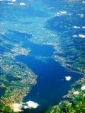 Lake Zurich / Zuerichsee, Switzerland - aerial view. Lake Zurich / Zurichsee - aerial view during flight. View of bridge Seedamm and islands Ufenau Lutzelau Royalty Free Stock Photos