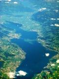 Lake Zurich / Zuerichsee, Switzerland - aerial view. Lake Zurich / Zurichsee - aerial view during flight. View of bridge Seedamm and islands Ufenau Lutzelau Stock Photo