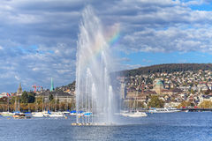 Lake Zurich and Zurich cityscape stock photos