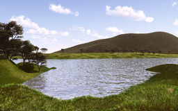 Lake2. Lake and mountain 3d rendered image Stock Image