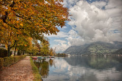 Lakefront autumn colors in Zell am See, Salzkammergut, Austria Stock Photography