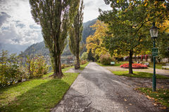 Lakefront autumn colors in Zell am See, Salzkammergut, Austria Royalty Free Stock Photography