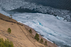 Lakefront and frozen ice floe Royalty Free Stock Image