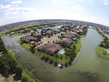 Lakefront homes aerial view Stock Images