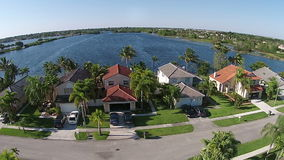 Lakefront homes in Florida aerial view Stock Photography