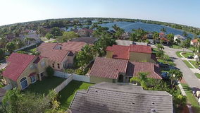 Lakefront homes in Florida aerial view Royalty Free Stock Photography