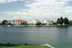 Lakefront homes with water view Stock Image