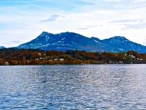 Lakefront i Lucerne, Schweiz Arkivfoto