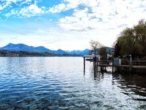 Lakefront i Lucerne, Schweiz Arkivbild