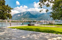 Lakefront of Malgrate located on the shores of Como Lake in the province of Lecco. Lakefront of Malgrate located on the shores of Como Lake in the province of Royalty Free Stock Image