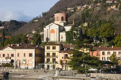 lakefront promenade at lago maggiore spring sunny day stock images