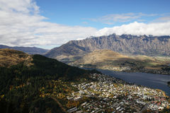 Lakefront from Queenstown. Lake and City View at Queenstown, NZ royalty free stock photos
