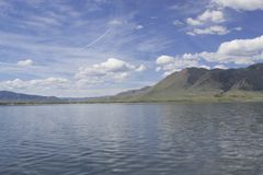 A lakefront view of Sheep mountain from Lake Hattie, Laramie, Wyoming. Snowy Range Mountains, Medicine Bow- Routte National Forest stock photo
