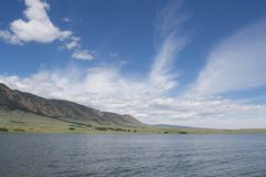 A lakefront view of Sheep mountain from Lake Hattie, Laramie, Wyoming. Snowy Range Mountains, Medicine Bow- Routte National Forest stock image