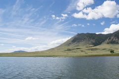 A lakefront view of Sheep mountain from Lake Hattie, Laramie, Wyoming. Snowy Range Mountains, Medicine Bow- Routte National Forest royalty free stock photo