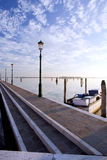 Lakefront walk in burano venice diagonal lines. View Royalty Free Stock Photos