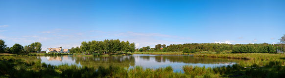 Lakehouse panorama. A panoramic view of a countryside lake with house near the swedish town of Torekov in the skane region of the country Royalty Free Stock Images