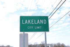 Lakeland City Limit Sign Royalty Free Stock Photos