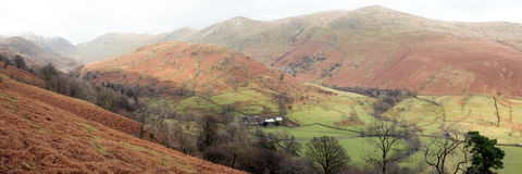 Lakeland panorama. A mid-winter  panoramic view of Troutbeck and some of the Lake District's snow-spattered fells from High Kingate on the Kirkston Pass, Cumbria Stock Photography
