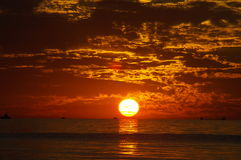lakemichigan solnedgång Arkivfoto