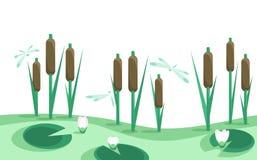 Laken vasser, liljar i horisontalseamless gränsar   Royaltyfri Fotografi