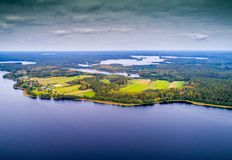 Lakes from above, bird`s flight royalty free stock image