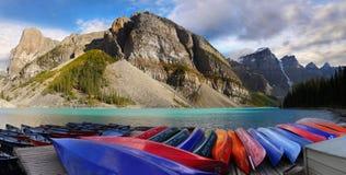 Moraine Lake Boats Panorama, Canadian Rockies. Moraine Lake and boats panoramic view in the Canadian Rockies, Banff National Park. Canada stock photos