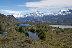 Lakes and Andes from Estancia Cristina. Panoramic view of lakes and mountains on the way from estancia cristina to the upsala glacier, in patagonia argentina Stock Photography