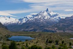Lakes and Andes from Estancia Cristina. Panoramic view of lakes and mountains on the way from estancia cristina to the upsala glacier, in patagonia argentina Stock Images