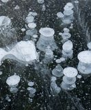 Ice bubbles rise from methane released from the ground