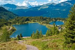 Lakes Colbricon, Dolomites Royalty Free Stock Photography
