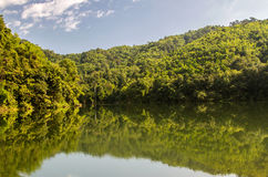 lakes dams store water tropics and green forest background Stock Photography