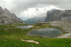 Lakes in Dolomites. Lakes between the peaks of Dolomites in Italy, close to Cortina d'Ampezzo Stock Image