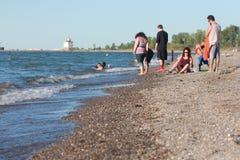 Lakes Erie Cleveland Coast i Nordamerika arkivbild