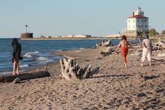 Lakes Erie Cleveland Coast i Nordamerika royaltyfria foton