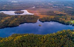 Aerial lake photography. Lakes in forest, aerial photography of beautiful Lithuanian scenic nature in autumn season Stock Photos