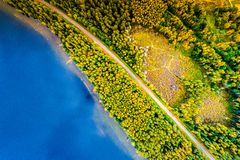 Lakes in forest, top view royalty free stock photos