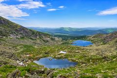 Lakes of glacial origin in mountains of Siberia Royalty Free Stock Images