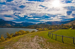 Lakes Hayes Crown Range. Mountains behind the lake. , New Zealand Royalty Free Stock Photography