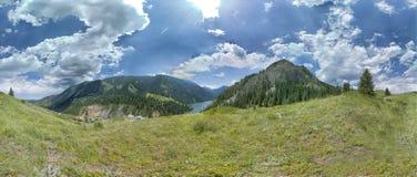 Lakes `Kolsay`. Panoramic shooting. Cloudy day scenery. stock photo