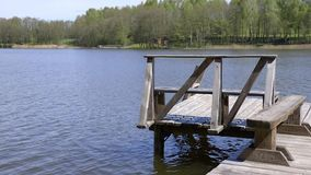Lakes of Lithuania. Wooden pier stock footage