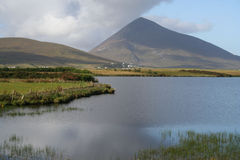 Lakes and mouintains, Ireland. Lakes and mountains at Achill Island, County Mayo, Ireland. Mount Slievemore Stock Photo