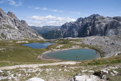 Lakes and mountain. Two lakes and mountain landscape Stock Image