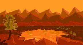 Lakes in the mountains at sunset geometry landscape stock illustration