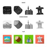 Lakes, mountains, the tower of SI-EN and other symbols of Canada.Canada set collection icons in black, flat, monochrome. Style vector symbol stock illustration stock illustration